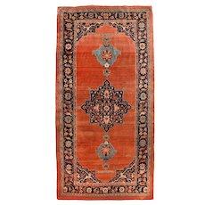Antique Rust Persian Bidjar Area Rug Wool Circa 1890, SIZE: 5'5'' x 10'11''