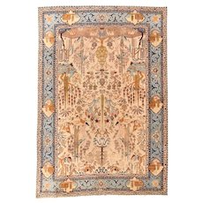 Fine Antique Persian Tabriz Wool on Cotton Circa 1920, SIZE: 8'1'' x 11'9''