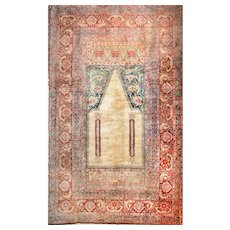 "Fine Antique Turkish Rug Angora Moher Wool, Hand Knotted, Circa 1890, Size 6'9"" x 10'10"""