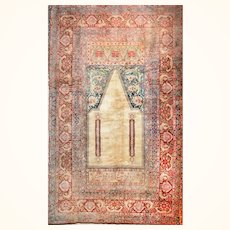 """Fine Antique Turkish Rug Angora Moher Wool, Hand Knotted, Circa 1890, Size 6'9"""" x 10'10"""""""