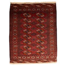 Antique Red Bokhara Russian Area Rug Wool Circa 1910, SIZE: 2'10'' x 3'7''