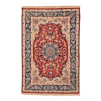 Excellent Brown Isfahan Persian Area Rug Wool Circa 1970, SIZE: 4'0'' x 6'0''