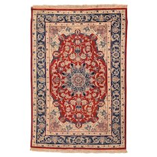 Extremely Fine Vintage Persian Isfahan Area Rug