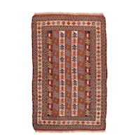 Semi Antique Brown Fine Kurd Kazak Area Rug Wool Circa 1940 SIZE: 4'0'' x 6'3''