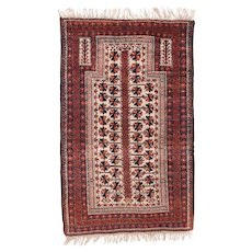 """Fine Antique Balouch Persian Rug, Hand Knotted, Circa 1900, Size 3' x 4'10"""""""