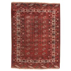 Semi Antique Persian Afghan Area Rug Wool Circa 1950 SIZE: 4'6'' x 6'1''