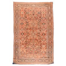Antique Ivory Fine Persian Mahal Sultanabad Area Rug Wool Circa 1890, SIZE: 12'7'' x 19'8''