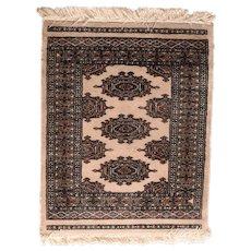 Vintage Brown Pak Bokhara Area Rug Wool Circa 1950, SIZE: 2'1'' x 2'7''