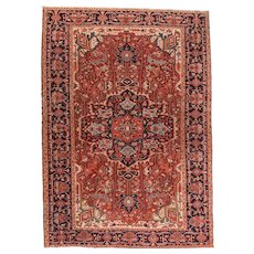 Antique Red Heriz Persian Area Rug Wool Hand Knotted Circa 1920, SIZE: 7'11'' x 11'6''