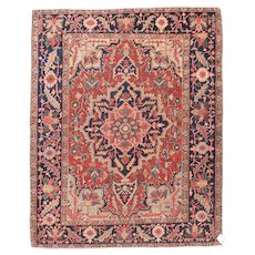 Antique Red Serapi Persian Area Rug Wool Circa 1890, SIZE: 4'10'' x 6'0''
