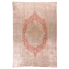 Antique Ivory Tabriz Haji Jalili Persian Area Rug Silk Circa 1890, SIZE:  8'7'' x 12'7''