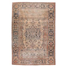 "Fine Antique Mohtasham Kashan Persian Rug, Hand Knotted, Circa 1890, Size 4'6"" x 6'8"""