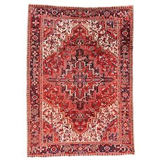 Fine Antique Persian Heriz Wool on Cotton Circa 1920, SIZE: 7'3'' x 10'2''