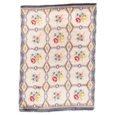 Vintage European Floral Garden Design Rug 100% Wool Circa 1950, SIZE: 5'5'' x 7'10''