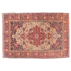 "Extremley Fine Antique Persian Isfahan Silk Foundation Hand Knotted , Circa 1920, Size 4'8"" x 7'2"""
