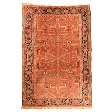 Fine Antique Persian Heriz Runner Wool on Cotton Circa 1920, SIZE: 6'8'' x 9'9''