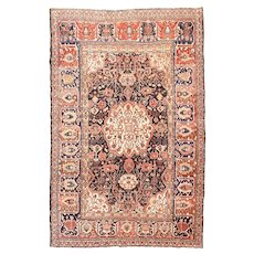Antique Red Bakhtiari Persian Area Rug Wool Circa 1890,SIZE: 6'0'' x 9'10''