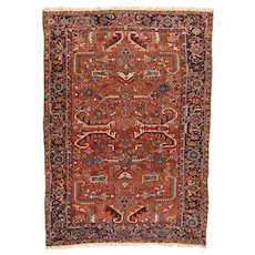 Hand Knotted Persian Heriz Wool Circa 1920, SIZE: 7'5'' x 10'3''