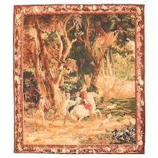 Fine Vintage Belgian Pictorial Tapestry, Hand Knotted, Circa 20th c