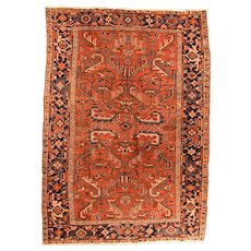 Fine Antique Persian Heriz Rug Wool on Cotton Circa 1910, SIZE: 6'8'' x 9'4''