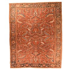 Fine Antique Persian Heriz  Rug Wool on Cotton Circa 1910, SIZE: 8' '' x 10'5''