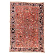 Fine Antique Persian Heriz Rug Wool on Cotton Circa 1910, SIZE: 7'8'' x 11'''