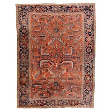 Hand Knotted Persian Heriz Wool Circa 1920, SIZE: 7'2'' x 9'7''