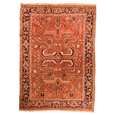 Fine Antique Persian Heriz Rug Wool on Cotton Circa 1910, SIZE:6'8'' x 9'''