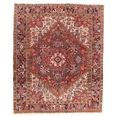 Fine Antique Persian Heriz Wool on Cotton Circa 1920, SIZE: 7'2'' x 9'0''