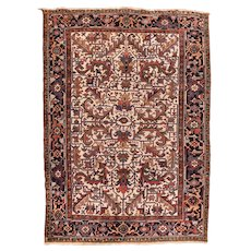 Fine Antique Persian Heriz Wool on Cotton Circa 1920, SIZE: 7'2'' x 10'2''