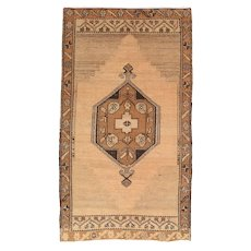 "Fine Antique Oushak Turkish Rug, Hand Knotted, Circa 1920, Size 2'7"" x 4'6"""