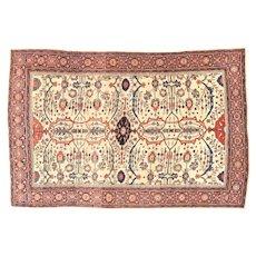 "Antique Persian Farahan Sarouk , Hand Knotted , Circa 1890, Size 4'4"" x 6'6"""