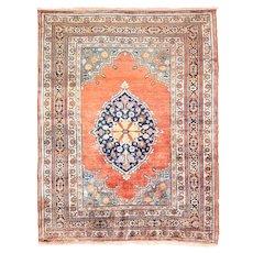 "Fine Antique Persian Rug  Silk Tabriz Haji Jalili Hand Knotted Circa 1890, Size 4'3"" x 5'5"""