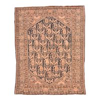 Antique Brown Malayer Persian Area Rug Wool Circa 1910, SIZE: 4'4'' x 5'0''