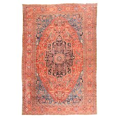 Antique Rust Heriz Serapi Persian Area Rug Wool Circa 1890, SIZE:  11'7'' x 18'5''