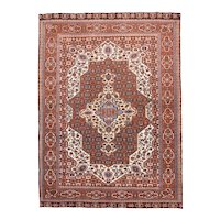 Semi Antique Red Ghashghaei Persian Area Rug Wool Circa 1940, SIZE: 4'5'' x 6'1''