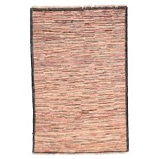 Excellent Dark Brown Persian Gabbeh Area Rug Wool Circa 1970, SIZE: 2'8'' x 4'2''
