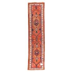 Semi Antique Persian Heriz Area Rug Wool Circa 1940, SIZE: 2'8'' x 11'8''