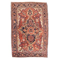 Antique Rose Farahan Persian Area Rug Wool Circa 1910, SIZE: 4'6'' x 7'0''