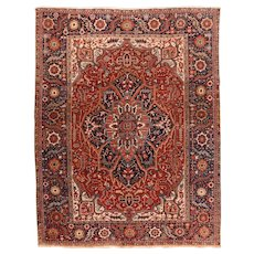 Hand-Knotted Persian Heriz Wool Circa 1920, SIZE: 8'5'' x 11'0''