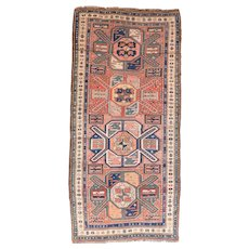 Antique Caucasian Kazak Long Rug