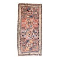Antique Ivory Kazak Russian Area Rug Wool Circa 1890, SIZE: 3'11'' x 8'7''