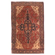Antique Red Farahan Persian Area Rug Wool Circa 1890, SIZE: 4'4'' x 7'0''