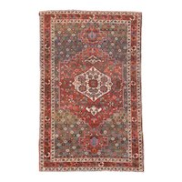 Semi Antique Red Bakhtiari Persian Area Rug Wool Circa 1930, SIZE: 4'4'' x 6'8''