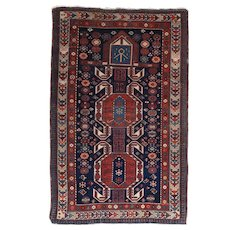 "Fine Antique Shirvan Russian Rug, Hand Knotted, Circa 1900, Size 3'6"" x 5'5"""
