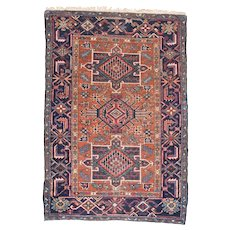 "Fine Antique Heriz Persian Rug, Hand Knotted, Circa 1890, Size 3'1"" x 4'6"""