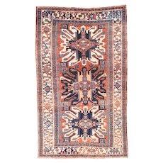 Antique Red Karajeh Heriz Persian Area Rug Wool Circa 1920, SIZE: 4'5'' x 7'5''