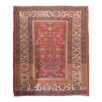Antique Red Malayer Persian Area Rug Wool Circa 1920, SIZE: 5'3'' x 6'3''