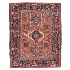 Antique Rust Karejeh Persian Area Rug Wool Circa 1920, SIZE: 4'9'' x 6'4''