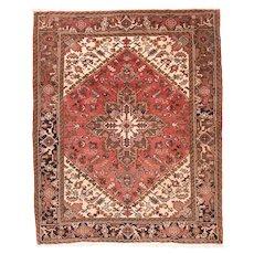 Semi Antique Rust Heriz Persian Area Rug Wool Circa 1950, SIZE: 5'2'' x 6'4''